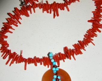 SALE Branch Coral Necklace Lovely Blood Red Coral and Jade and Turquoise Pendant Necklace 18 inch Choker