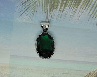 Chrome Diopside Gemstone .925 Sterling Silver Pendant