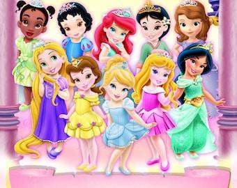 Disney Toddler Princess - Aurora, Snow White, Cinderella, Ariel, Belle, Jasmine....Birthday Invitation - INSTANT DOWNLOAD -