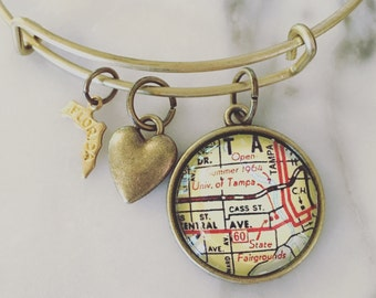 University of Tampa Map Charm Bangle Bracelet - Personalized Map Jewelry - Bangle - Graduation - Alumni - Student - Tampa Florida