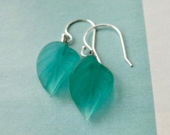 Women's Earrings /Glass Leaf Earrings / Sterling Silver Ear Wires / Jewelry / Boho Chic Earrings / Handmade Aqual Leaf Earrings