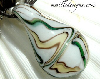 Brown, Green and White Glass Pendant Necklace