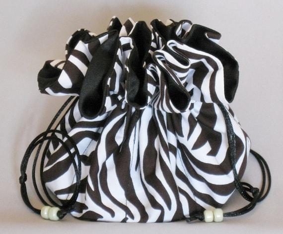 Jewelry Travel Tote---Drawstring Organizer Pouch---Zebra Print Design---Large  Size
