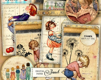 GAMES and Play TIME - digital collage sheet - printable set of 10 embellished