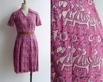 "Vintage 80's ""Maharaja' Indian Woodblock Novelty Print Cotton Shirt Dress S"