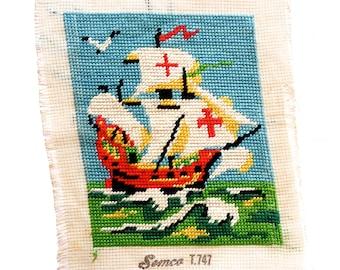 Vintage Semco Sailing Ship Hand Embroidery