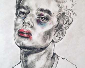 The Narcissist- Original graphite and colored pencil portrait drawing of a man with black eye and red lips on paper, UNFRAMED