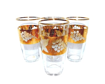 Vintage Crystal & Gold Gilded Tumblers/Juice Glasses - Set of 4 - Made in Western Germany