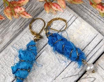 Turquoise  boho chic  sari silk dangle earrings