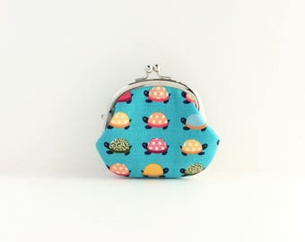 Turtle on Aqua Coin Purse - Change Purse - Mini Pouch - Womens Purse - Coin Pouch - Jewelry Purse - Purse Accessories - Gift for Her