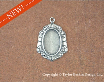 Antiqued Sterling Silver Plated 14x10 mm Floral Border Earring Component or Pendant Bezel (item 1535 AS) - 6 Pieces