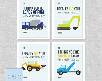 printable construction vehicles Valentine's Day cards . kids' truck valentines . classroom valentines . instant download . bundle 1