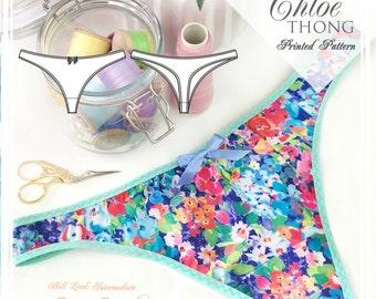 PRINTED Lingerie Sewing Pattern - Chloe Thong -  EVIE la LUVE
