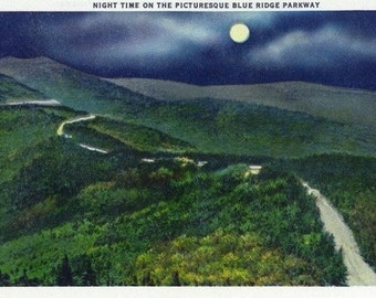 North Carolina - Moonlight Scene on the Picturesque Blue Ridge Parkway (Art Prints available in multiple sizes)