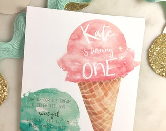 Printable Watercolor Ice Cream Birthday Invitation