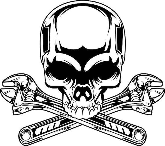 Mechanic Logo 2 Skull Wrench Crossed Engine Car Auto