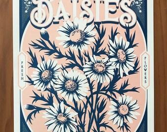 "Farmer's Market ""Daisies"" Letterpress Poster"