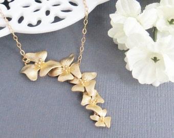 Orchids Lariat Necklace, Valentines Necklace, Necklace for Her, Necklace for Mom, Wedding Necklace, Bridesmaid Necklace, Friend Necklace
