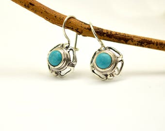 Turquoise earrings, sterling silver dangle earrings, antique style lace blue gemstone earrings, turquoise jewelry, December  birthstone,