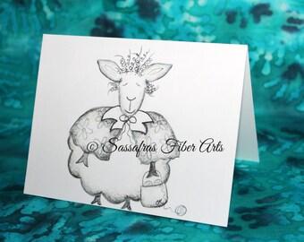 Granny Fannie - Hand Drawn Greeting / Note Card - Adorable Sheep w yarn basket
