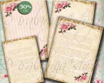 OLD VINTAGE PaPER  Collage Digital Images -printable download file- Download Images -Printable Paper -Scrapbook paper - Vintage Paper