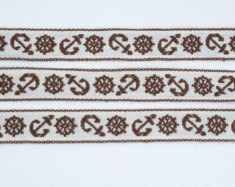 "Nautical Ribbon, Vintage Tyrolean Sewing Trim, Sailing, Jacquard, Anchor, Naval, Captain's Wheel, Ship Wheel, Boat, 5/8"" wide, 3 yards"