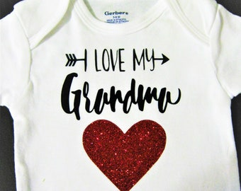 I Love Grandma, Onesies for Baby, Designer Onesies for Infants