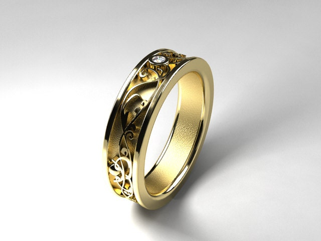 Wide filigree wedding band with diamond yellow gold ring men