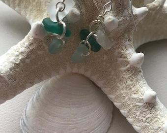 Multi Color Dangle Sea Glass Earrings