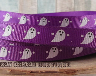 "3 yards of 3/8"" Halloween ghost grosgrain ribbon (purple)"
