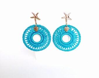 Crochet statement earrings, turquoise earrings, hoop earrings, brass starfish earrings, summer earrings, cyan blue jewelry, beach earrings