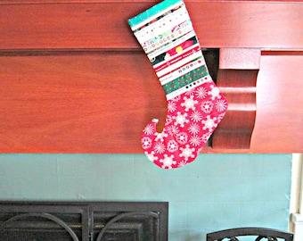 Red Christmas Stocking, Upcycled Christmas Stocking, Selvage, Snowflake Stocking, Modern Christmas Stocking, Elf Toe Stocking