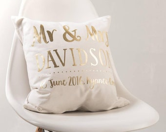 Personalised Gold Wedding Couple Cushion Pillow