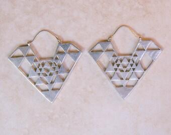 White brass Aztec triangle earrings, silver jewelry, tribal jewelry, boho jewelry, gypsy jewelry