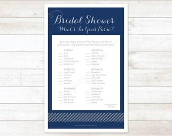 navy silver bridal shower what's in your purse printable game navy silver glitter wedding shower digital games - INSTANT DOWNLOAD