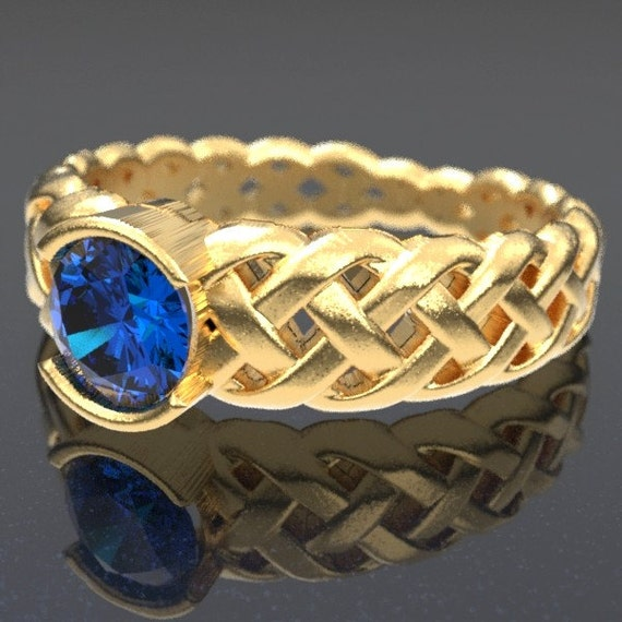 Gold Celtic Blue Sapphire Engagement Ring With Braided Cut-Through Knotwork Design in 10K 14K 18K or Palladium, Made in Your Size Cr-760