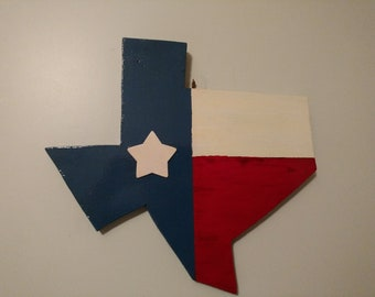 State of Texas cut out painted as Texas Flag with flat star can be used indoor or out.