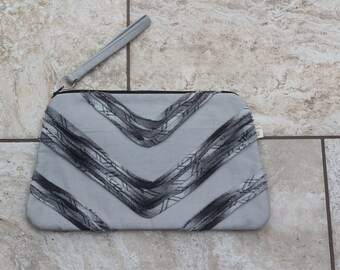 Grey Canvas Oversized Chevron Ruffle Clutch with Upcycled Cotton Plaid Shirting with Removable Wrist Strap