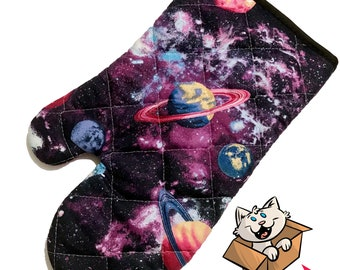 Glitter Galaxy with Planets Oven Mitt
