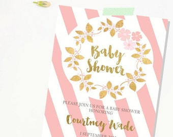 Pink Gold Baby Shower Invitation. Baby Shower Invitation. Gold glitter. Shower Invitation. GIRL. Girl Baby Shower Invitation.