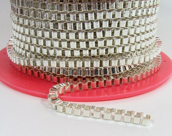 Box Link Chain - Silver Plated - CH119 - Choose Your Length