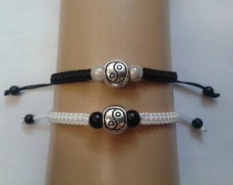 Couples bracelets - tai chi bracelet - his and hers jewelry - couples jewelry - yin yang jewelry - monochrome jewelry - yin yang bracelets
