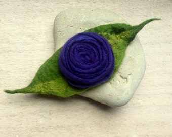 Embroidered felt brooch purple and green