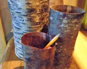 Rustic Birch Bark Containers Storage Holders