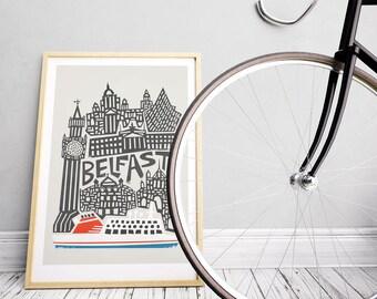 Belfast Print, City Art, Northern Ireland, Hallway Art, Bathroom Wall Art, Boat Art, BFF Gift, Gallery Wall, Dad Gift Idea, Husband Gift