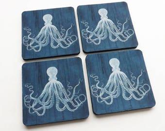 Nautical Drink Coaster Gift Set mug mats Dark Blue Octopus beach housewarming tentacles kraken rustic style ocean hostess gift masculine