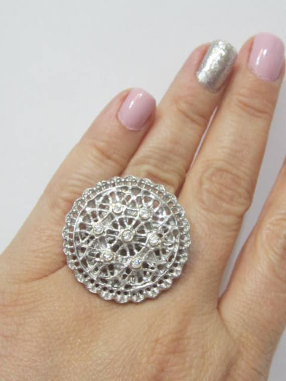 Silver Mandala Ring Silver Disc Ring Antique Style Ring