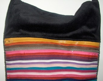 Zipper Handbag, shoulder bag, striped zippers, rainbow colors, black and grey corduroy, pockets, Zip*Purz