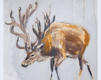 """Stag Painting Antlers Art Acrylic Original // """"Antlers"""" 16 x 16"""" on Canvas"""