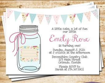 Mason Jar First Birthday Invitation - Girl Birthday Invitation - Bunting and Mason Jar Birthday Invite - Flowers Pink Blue  - 1260 PRINTABLE